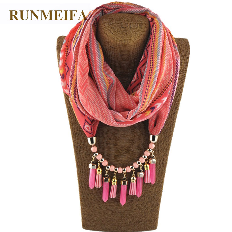 RUNMEIFA Charms Pendant Necklace Scarf Jewelry Style CylindricalIron Alloy Match Keep Warm Tourism Wear Beads Water Drop Jewelry ethnic style alloy water drop beads necklace for women