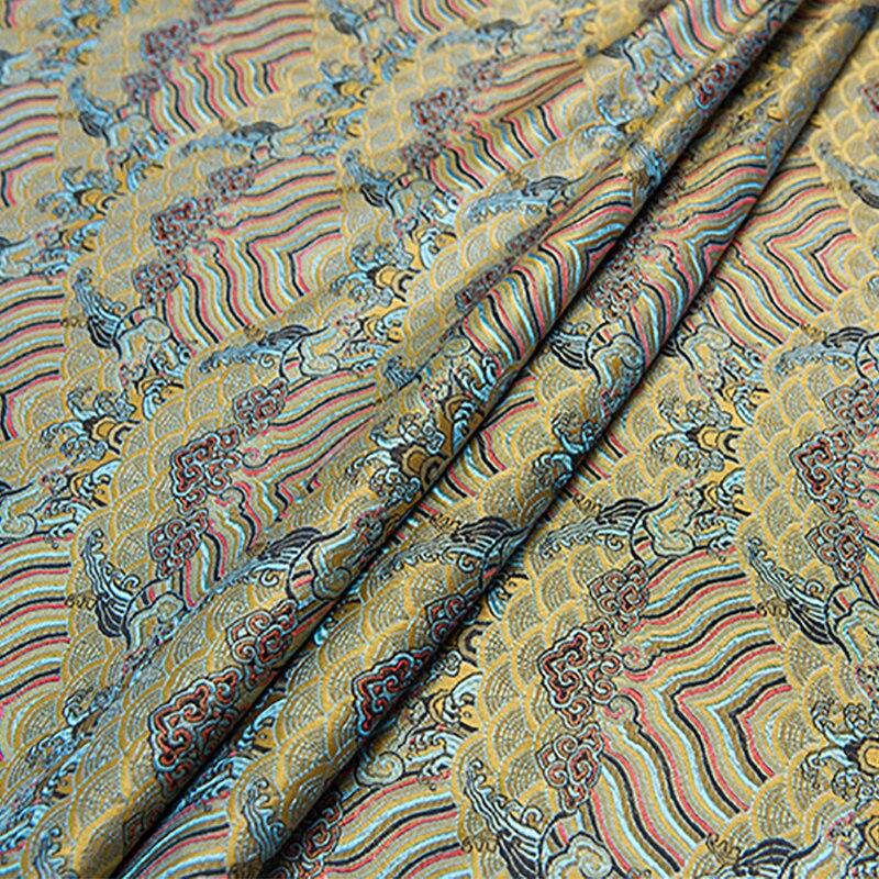 100x75cm new arrival brocade wave red/black stripe fabric for patchwork tissue telas felt dress children cloth bed sheet coat