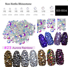 Aurora Rainbow Color Nail Rhinestones 8 Sizes ss3-ss16 1440PCS Nail Art Decoration Flatback Glass Stones Non Hot Fix Rhinestones стразы для одежды blingworld rhinestones 1440 4 ss16