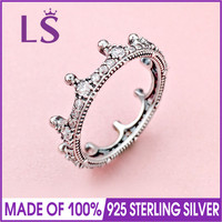 LS 2018 New Arrivals High Quality 100% Real 925 Silver Enchanted Crown Ring For Women DIY Fashion Rings 100% Fine Jewelry Gift