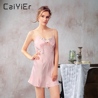 Caiyier Women Silk Nightgowns Floral Nature Sexy Sleepwear Shoulder Strap Halter Black Pink Navy Appliques Nightwear LLP6866