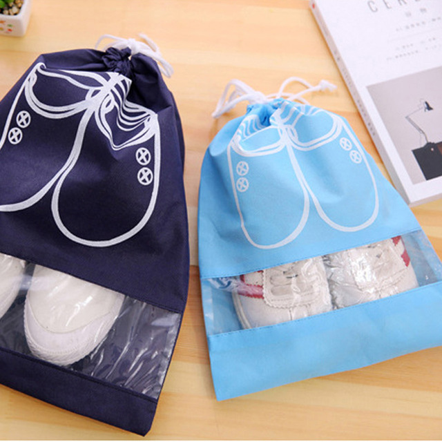 2 Sizes Waterproof Shoes Bag Pouch Storage Travel Bag Portable Tote Drawstring Bag Organizer Cover Non-Woven Laundry Organizador