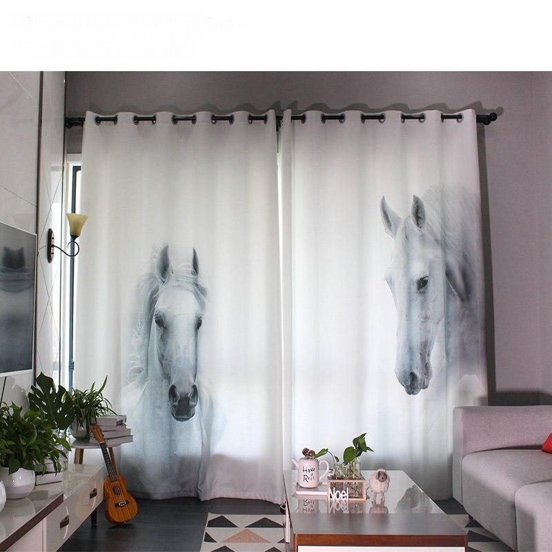 Personal Tailor 2x Window Drapery Nursery Kids Children Room Curtain Window Dressing Tulle Covering 200cm X 260cm Horses White