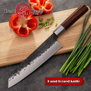 Image 3 - Handmade Chef Knife 8 Inch Japanese Kiritsuke Shape High Carbon 4cr13 Stainless Steel Professional Kitchen Cooking Slicing Tools