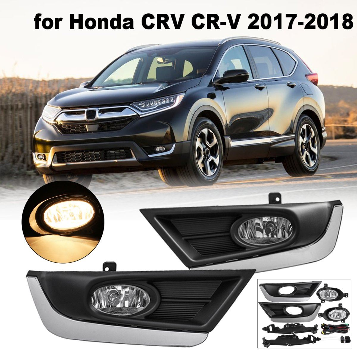 Pair ABS Bumper Fog Lights Driving Lamps w/ Wiring Harness Front Left Right For Honda/CRV/CR-V 2017 2018 DC 12V 40A H11 Bulbs