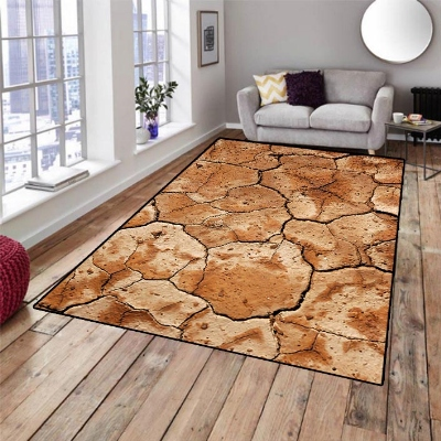Else Brown Dried Soil Design 3d Pattern Print Non Slip Microfiber Living Room Decorative Modern Washable Area Rug Mat