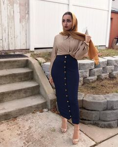 Image 5 - New Women Muslim Long Skirt High Waist Maxi Bodycon Dubai Pencil Skirts Fashion Buttoms