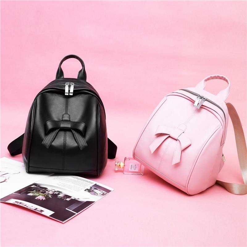 Women Backpacks For Teenage Teen Girls PU Backpack Female Bowknot Designer School Bagpack For Student Travel Bag