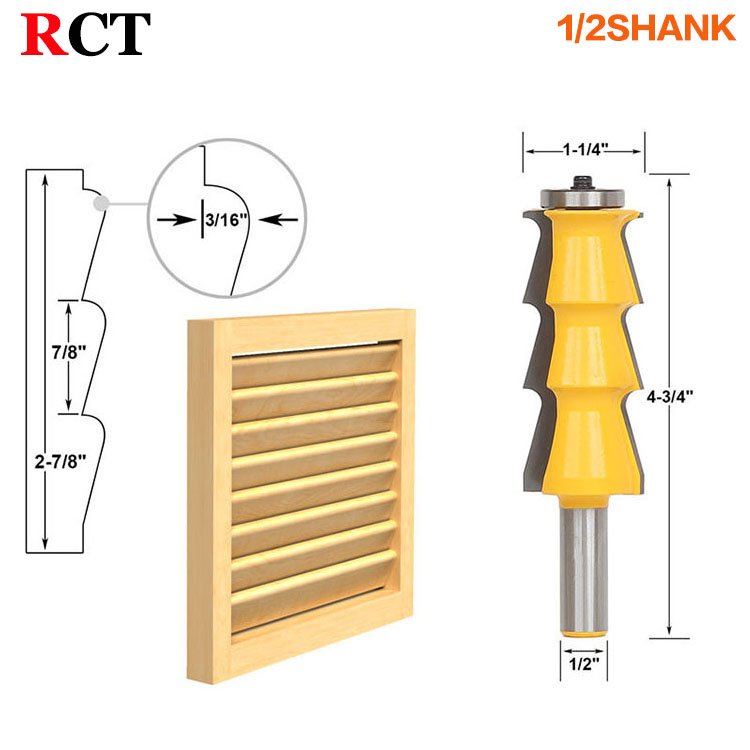 1pc Louver Shutter Style Router Bit - 1/2 Shank door knife Woodworking cutter Tenon Cutter for Woodworking Tools high grade carbide alloy 1 2 shank 2 1 4 dia bottom cleaning router bit woodworking milling cutter for mdf wood 55mm mayitr