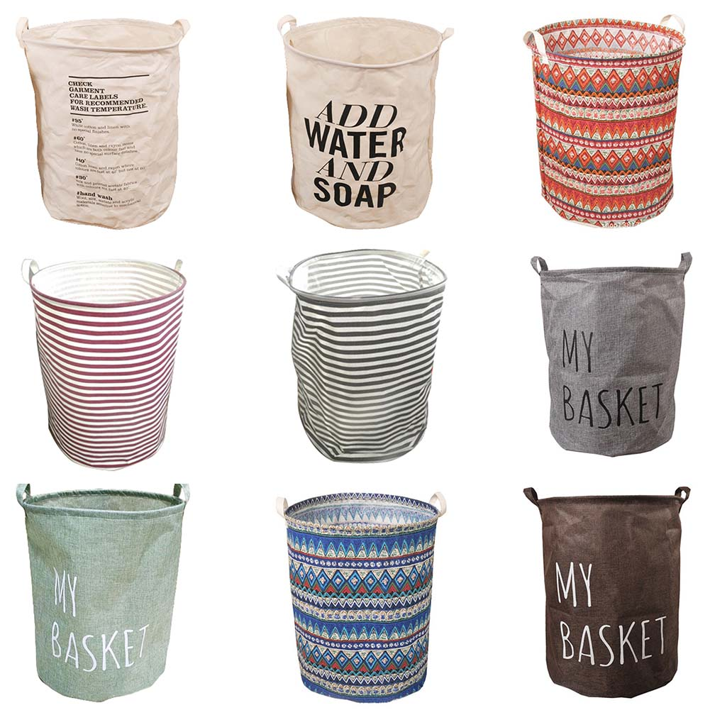 40x50cm Foldable Cotton Linen Fabric Washing Clothes Bathroom Dirty Clothes Laundry Storage Bucket Bags Toy Storage With Handles