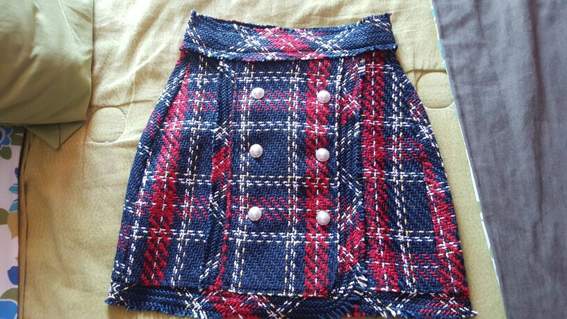 Vintage Faux Pearl Fringe Tweed Plaid Mini Skirt Women Fashion A Line Back Zipper Tassel Ladies Skirts Casual Faldas Mujer photo review