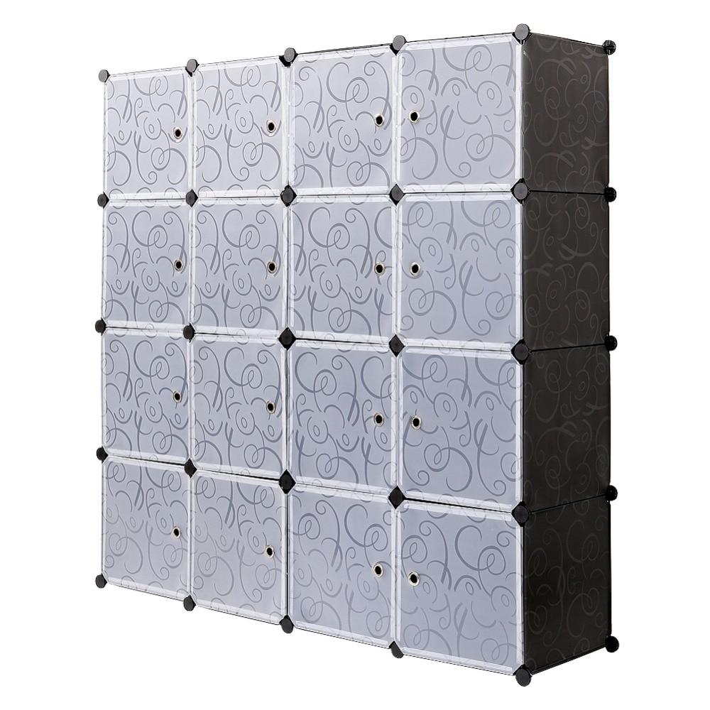 Пластик гардероб 16 Cube переплетенных шкаф для хранения одежды полупрозрачные декоративные узоры элегантный черный, белый цвет S15