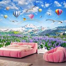 Plateau Lavender Flower Sea Hot Air Balloon Landscape Living Room TV Wall Manufacturers Wholesale Wallpaper Mural Custom Photo W
