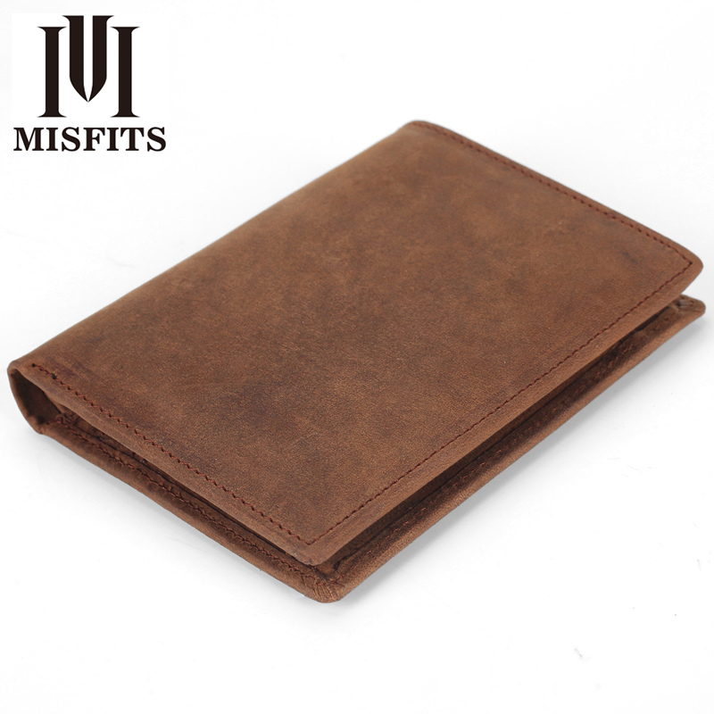 MISFITS Vintage Crazy Horse Leather Men Wallets Handmade Small Purse Cowhide Coin Purse Genuine Leather Simple Wallet For Men crazy horse leather men wallet slim vintage genuine leather long purse cowhide bifold wallets with coin pocket and card holders