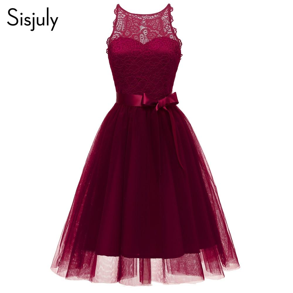 Sisjuly Women Dress Summer Sleeveless Sexy Party Dress A-Line O Neck Stylish Vintage Elegant Fashion Bowknot Lace Women's Dr