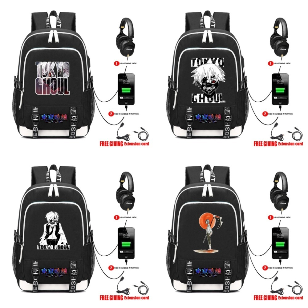 anime Tokyo Ghoul Canvas Backpack USB Charging Headphone jack Student School Backpack Teenagers travel laptop bag otaku anime tokyo ghoul cosplay anime shoulder bag male and female middle school student travel leisure backpack