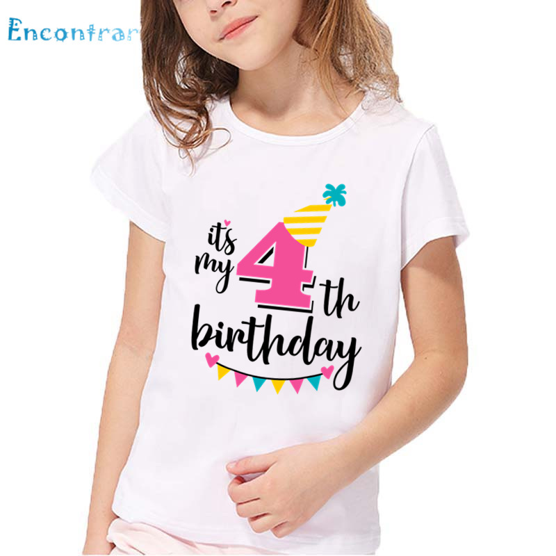 happy birthday number 1 7 letter print funny t shirt kids summer white tops baby girls birthday present number t shirthkp2432 in t shirts from mother