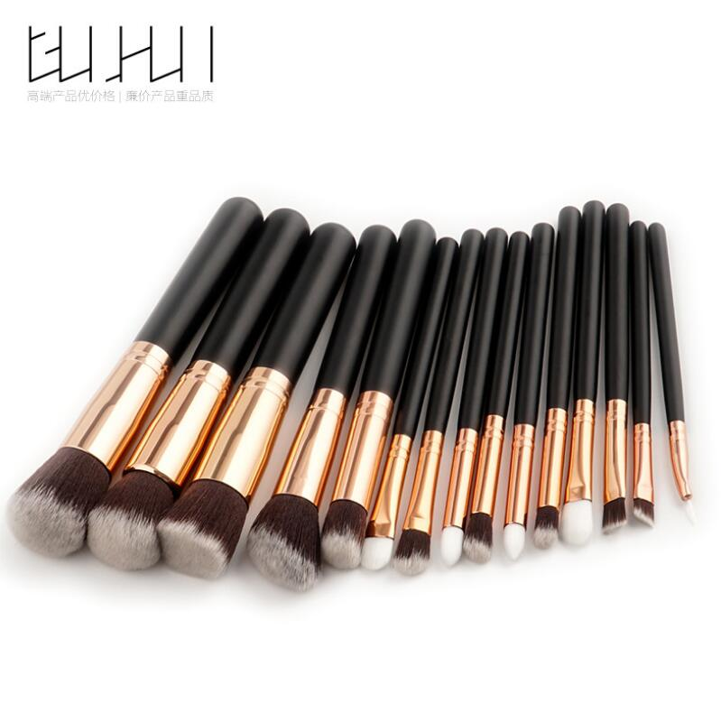 GUJHUI ROSE GOLD 15pcs Makeup Brushes Set Pincel Maquiagem Powder Eye Kabuki Brush Complete Kit Cosmetics Beauty Tools 26 pcs professional makeup brushes beauty woman s kabuki cosmetics makeup brush set tools foundation brush pincel de maquiagem