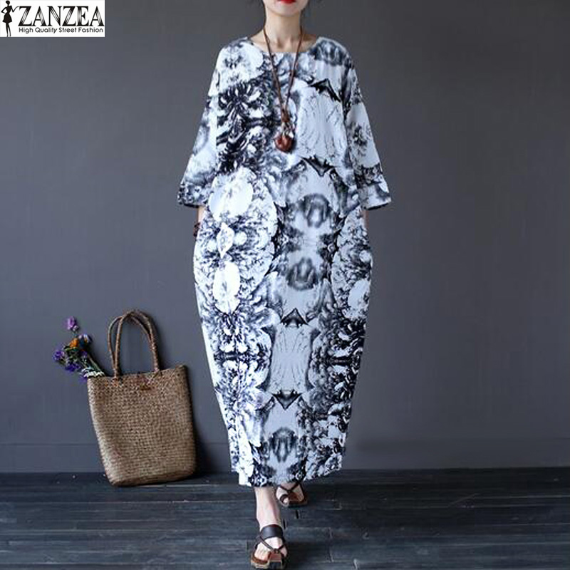 Oversized Vestido ZANZEA Womens Summer Batwing Half Sleeve O Neck Floral Print Casual Baggy Kaftan Retro Linen Maxi Long Dress