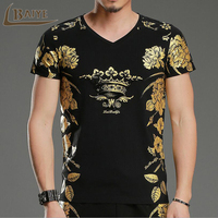 Fashion Men S T Shirts 3D Printing Bronzing Summer Short Tees Casual Cotton Short Sleeve Luxury