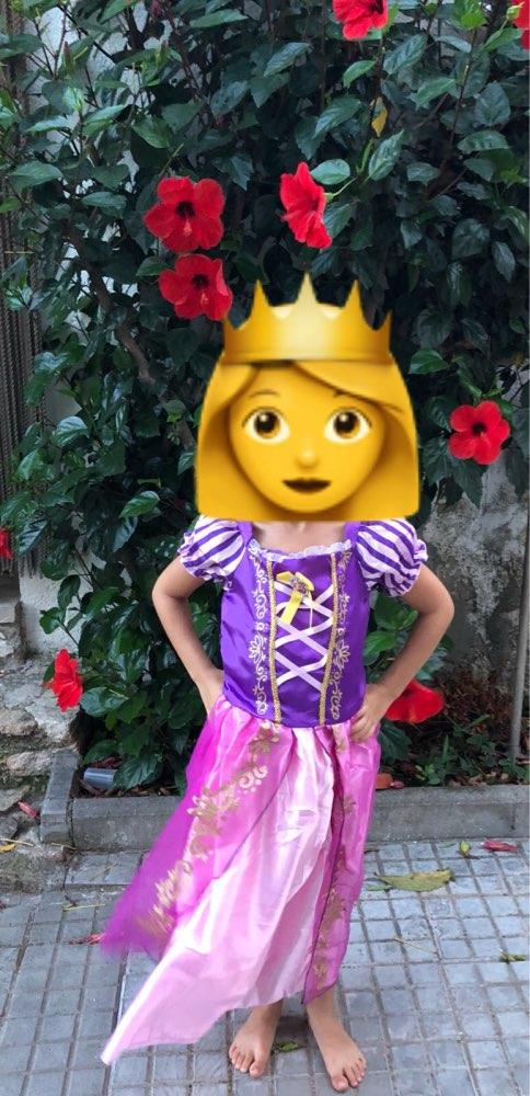 MUABABY Girls Princess Summer Dresses Kids Belle Cosplay Costume Children Rapunzel Cinderella Sleeping Beauty Sofia Party Dress