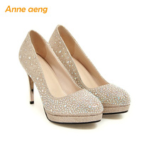Women shoes 9cm high thin heel pumps with platform golden silver Wedding Bridal shoes party queen classic elegant round toe
