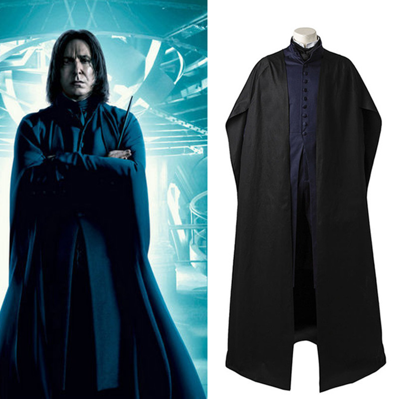 Harri Potter Cosplay Professor Severus Snape Costume Outfit Black Cloak Robe Adult Men Halloween Carnival Full Set Custom Made
