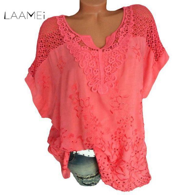 Laamei Для женщин Кружева Лоскутная Блузка рубашка Повседневное Топы Sexy короткий рукав белая блузка женские открытые летние элегантные блузки