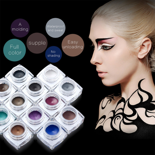 Brand makeup eyes colors pigment white black brown eye liner cream maquillage cosplay matte shimmer waterproof