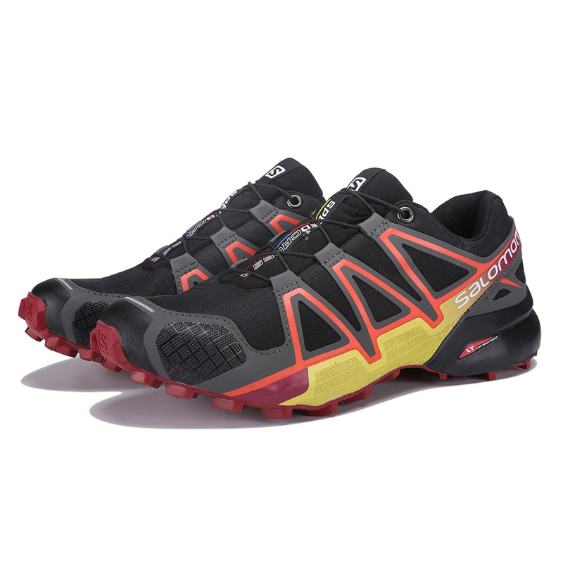 Salomon Chaussures Speed Cross 4 CS sneakers Hommes Cross-Country Chaussures Noir rouge Speedcross 4 Jogging Chaussures Forte emprise de Course Chaussures