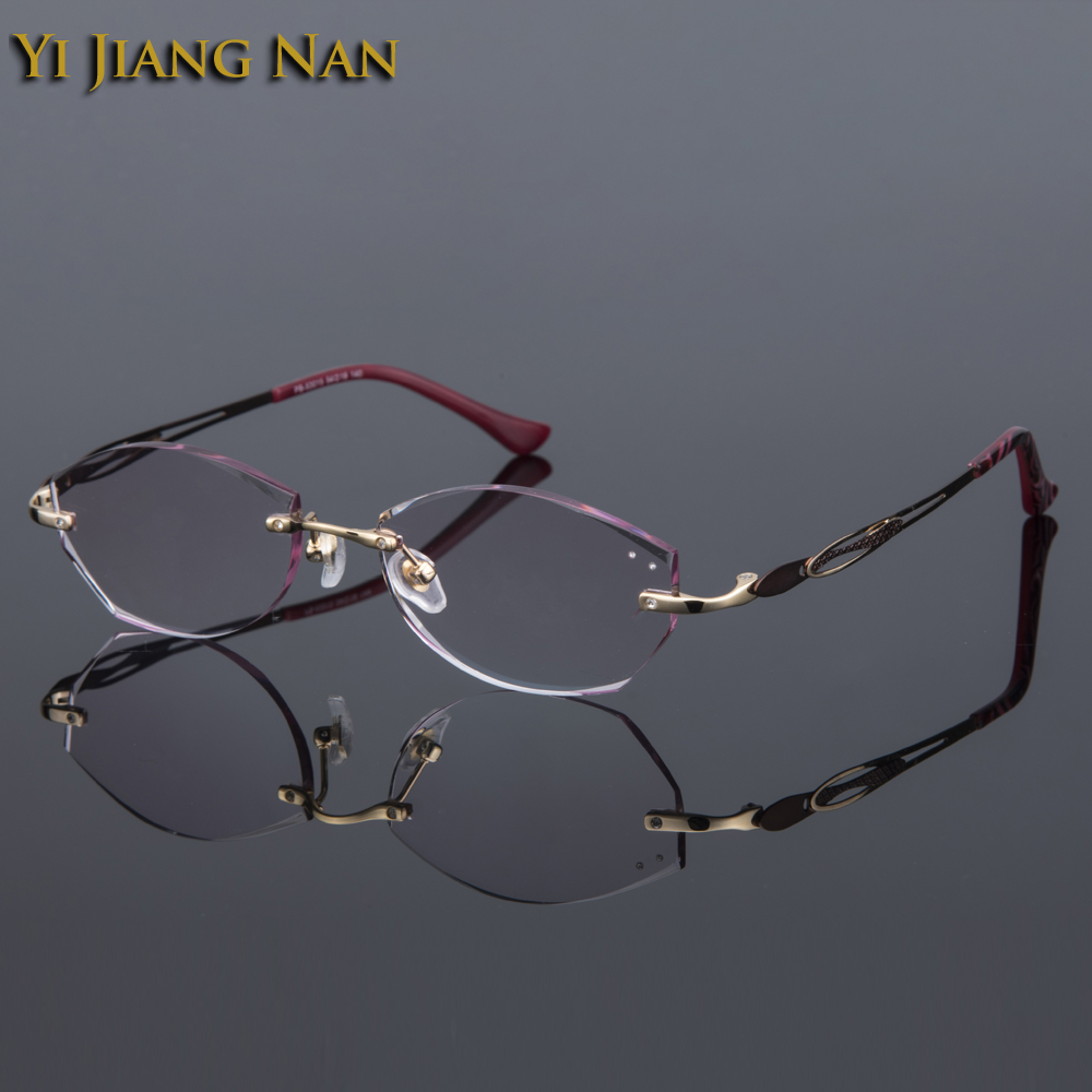 6334d8d453d3 Yi Jiang Nan Brand Women Top Quality Rimless Glasses Frame Prescription  Spectacles Female Fashion Tint Color Lenses with Stones