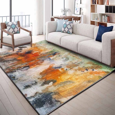 Else Yellow Blue Green Gray Watercolor Abstract 3d Print Non Slip Microfiber Living Room Decorative Modern Washable Area Rug Mat