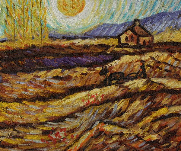 High quality Oil painting Canvas Reproductions Enclosed Field With Ploughman by Van Gogh Painting hand painted