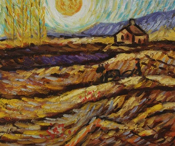 Hoge kwaliteit olieverf Canvas Reproducties Ingesloten Veld Met Ploughman door Van Gogh Schilderen handgeschilderde