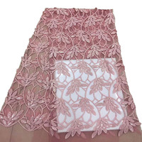 Hot Selling Leaves Embroidery African French Net Lace Fabric Pink Tulle Lace For Party Dress X724 4