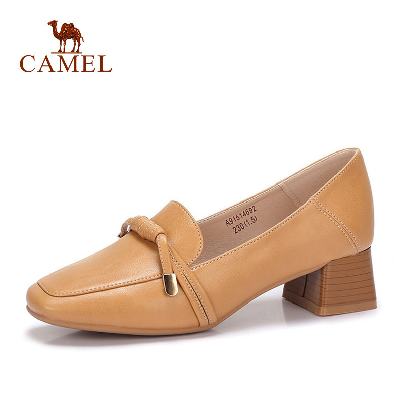 CAMEL Women Spring New Med Heel Single Casual Shoes Women Leahter Retro Dress Shoes For Ladies Mature Slip On Mother Med Pumps CAMEL Women Spring New Med Heel Single Casual Shoes Women Leahter Retro Dress Shoes For Ladies Mature Slip On Mother Med Pumps