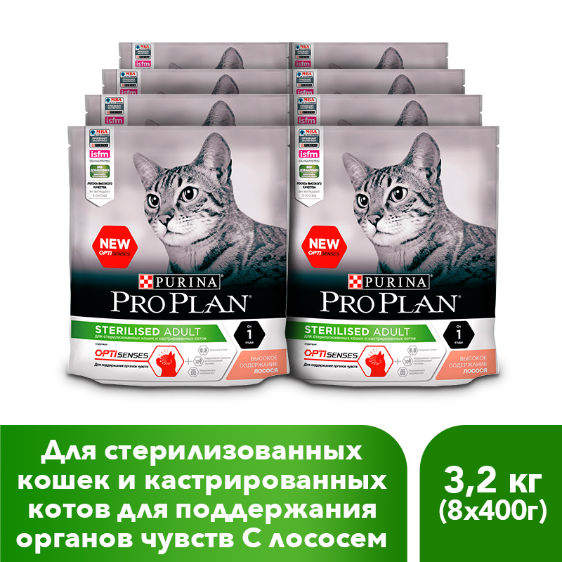Pro Plan dry food for sterilized cats and neutered cats (for the maintenance of the senses), with salmon, 8 x 400 g guitar day the jumping cats