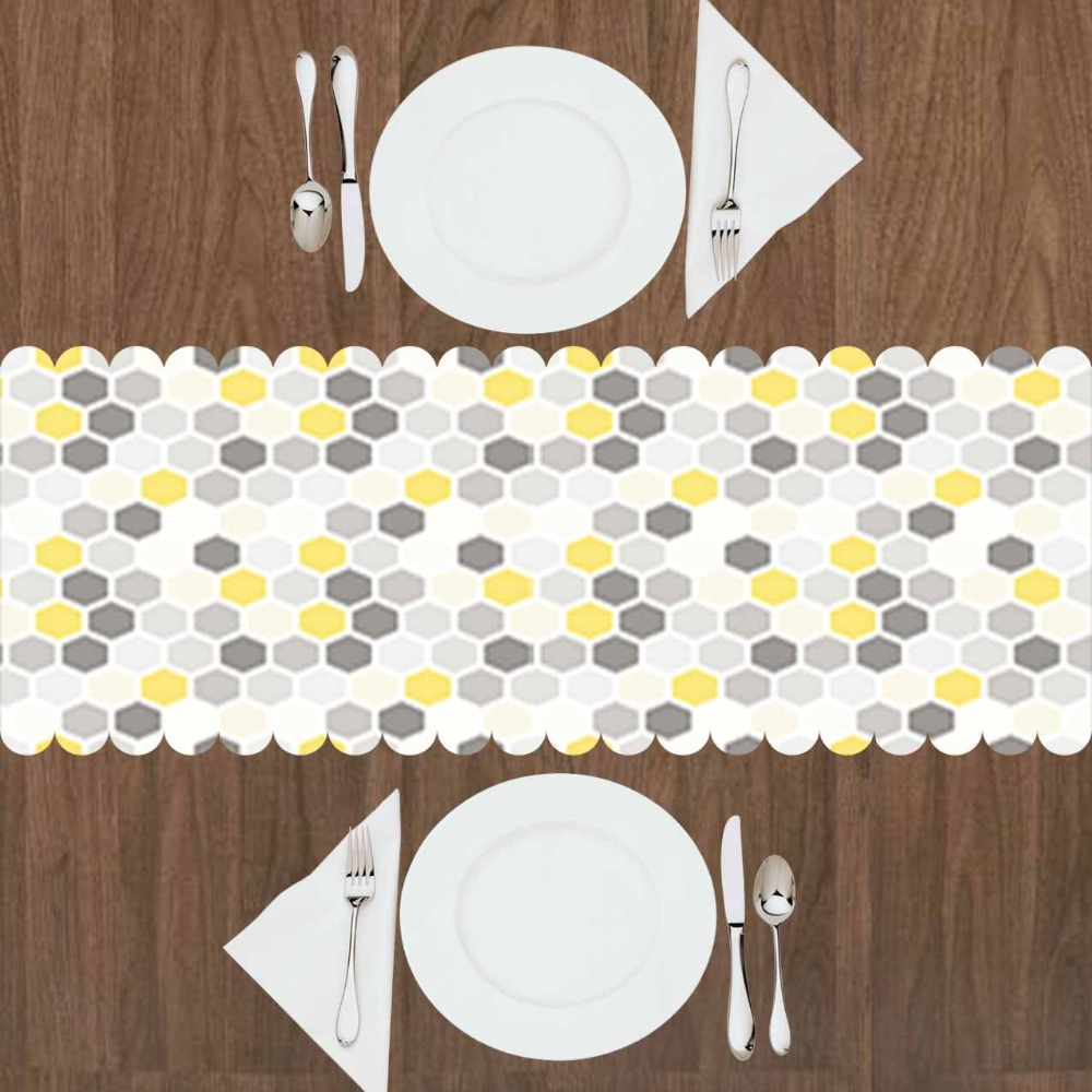 Else Gray White Yellow Hexagon Geometrics Cubes 3d Print Pattern Modern Table Runner For Kitchen Dining Room Tablecloth