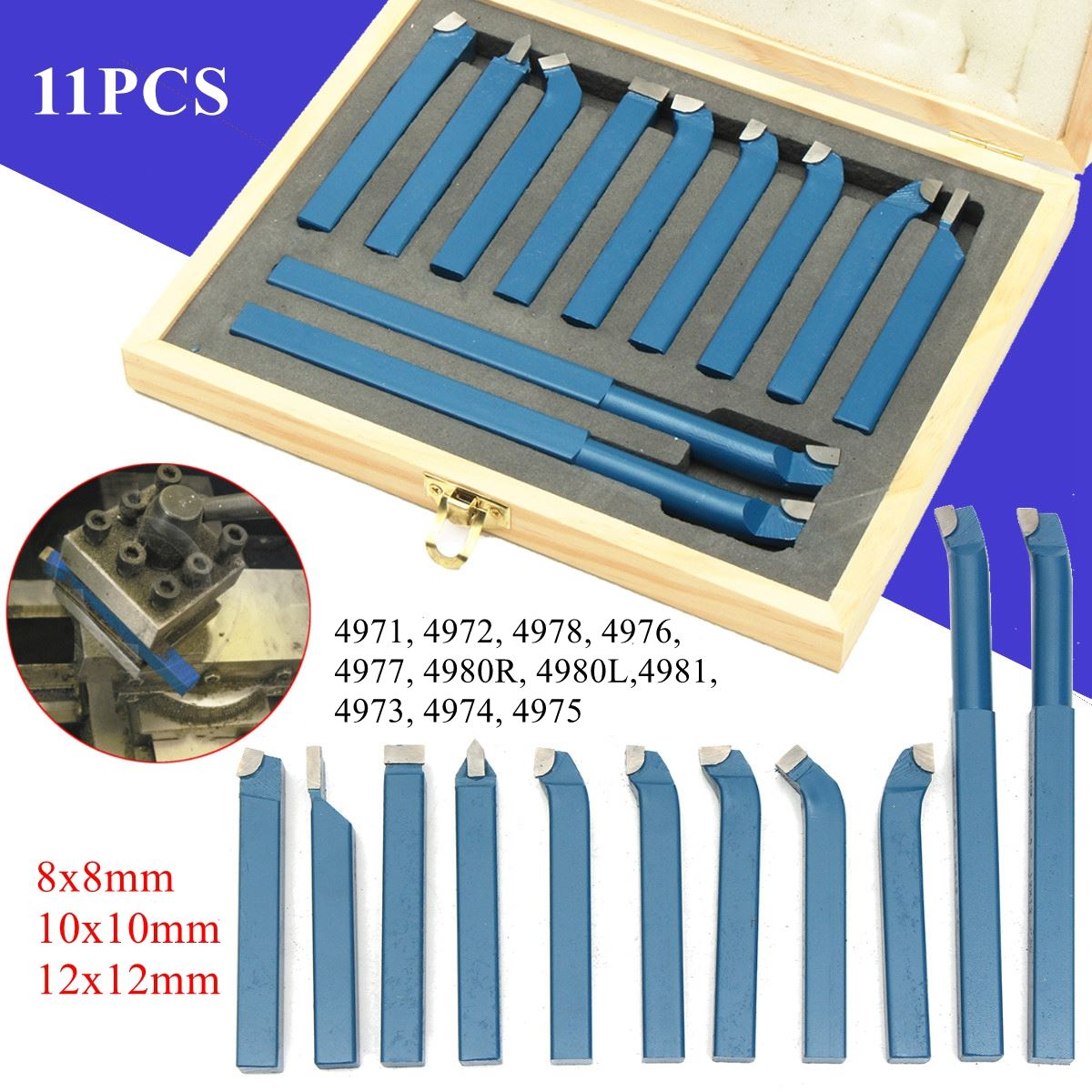 11Pcs Lathe Cutting Tool Set Carbide Tip External Turning Boring Bit 8/10/12mm