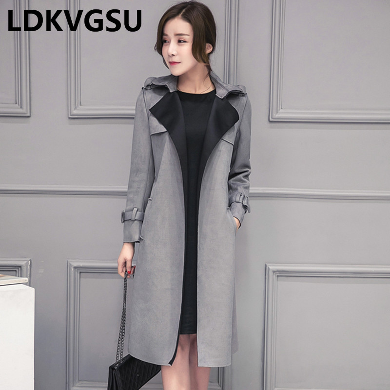 New Fashion Elegant 2018 Spring Autumn Long Women Suede   Trench   Coat Pure Color Overcoat with Belt Slim Windbreaker Femme Is140