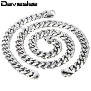 Image 3 - Daiveslee Matte Heren Ketting Armband Sieraden Set 316L Rvs Ketting Zilver Kleur Curb Cubaanse Link DHS42