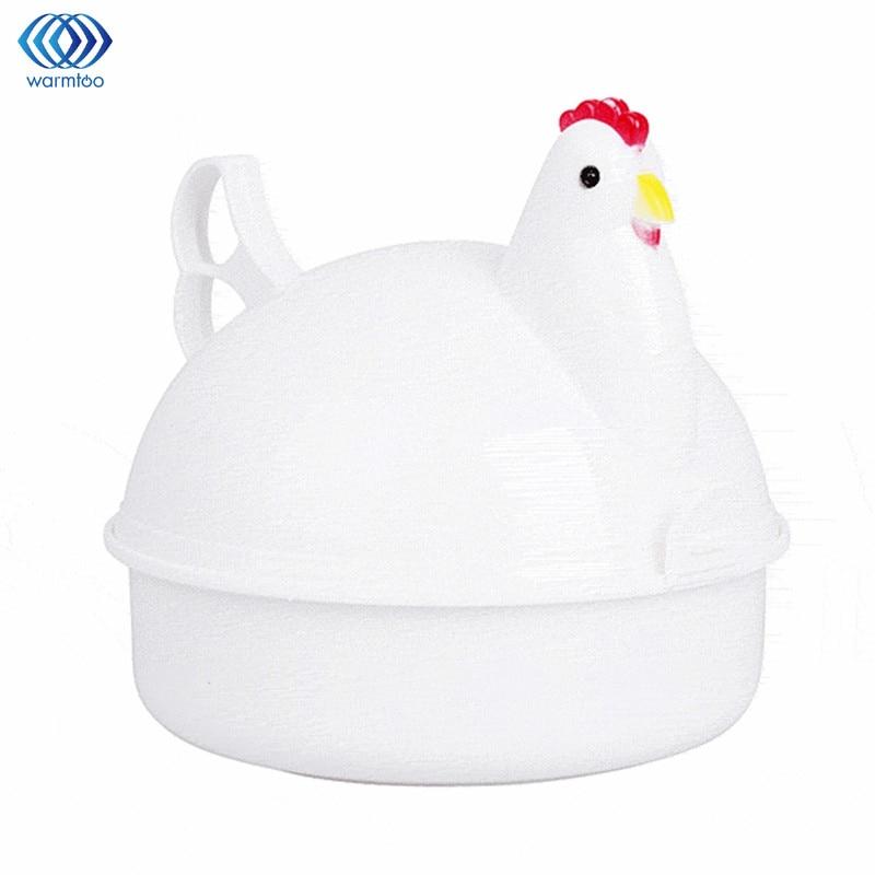 Eggs Steamer Chicken Shaped Microwave 4 Egg Boiler Cooker Nos