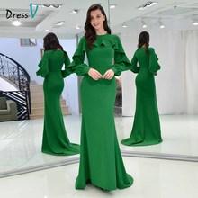 Dressv элегантное вечернее платье с овальным вырезом и длинными рукавами, с оборками, труба, свадебные вечерние платья, платье Русалка, вечернее платье es