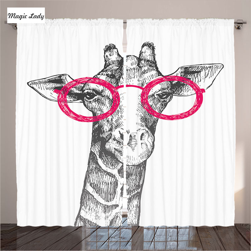 Giraffe Curtains Living Room Bedroom Hipster Retro Fashion