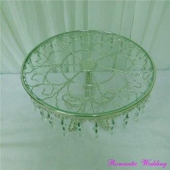 Silberner Tortenständer | Romantische Hochzeit Silber Mahlzeit Glasoberfläche Tortenständer Kristall Kronleuchter Stil Kuchen Steht