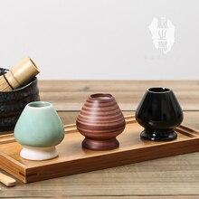цена на Ceramic matcha green tea whisks holder set place Japanese stand chasen tea brush base seat Japan nature matcha powder 100gX2pcs