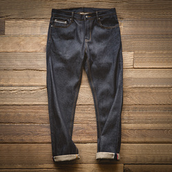 MADEN mannen Vintage Regelmatige Straight Fit Ongewassen Ruwe Zelfkant Denim Jeans