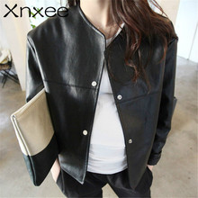 of womens wear thin, short female leather jacket, Pu long sleeved college wind small coat, loose PU jacket Xnxee