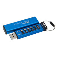 Kingston technology DataTraveler 2000 64 ГБ, 64 ГБ, 3,0 (3,1 Gen 1), разъем usb type-A, рукав, защита паролем, синий
