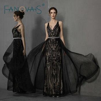 Sexy V Neck Black Evening Dresses With Detachable Train Cross Back Mermaid Prom Ddress 2019 Vestido de fiesta longo
